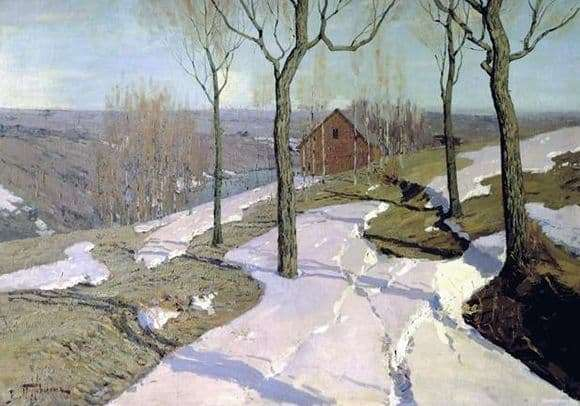 Description of the painting by Wilhelm Purvita Last Snow
