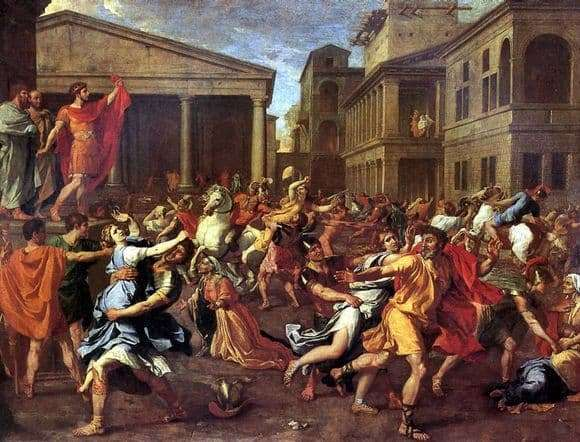 Description of the painting by Nicolas Poussin The Abduction of the Sabine Women (1638)