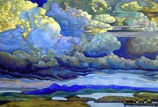 Description of the painting by Nicholas Roerich Heavenly Battle