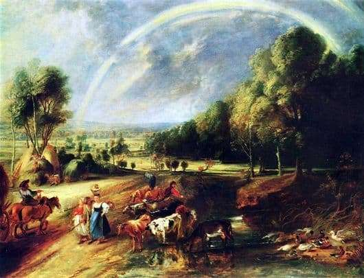 Description of the painting by Peter Paul Rubens Landscape with a rainbow