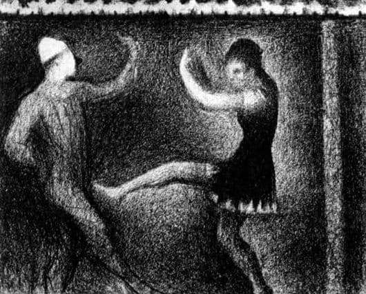 Description of the painting by Georges Seurat Dancing couple