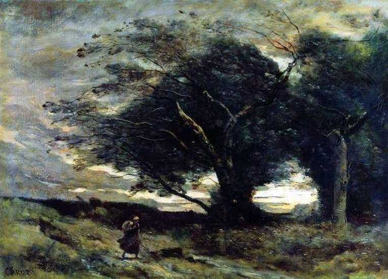 Description of the painting by Camille Corot Gust of wind