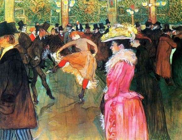 Description of the painting by Henri Toulouse Lautrec Dance in the Moulin Rouge