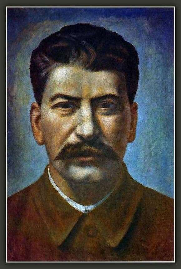 Description of the painting by Pavel Filonov Portrait of Joseph Stalin