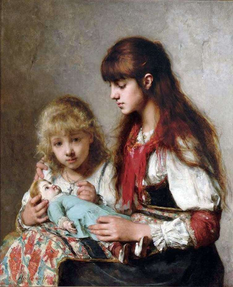 Description of the painting by Alexey Kharlamov Sisters