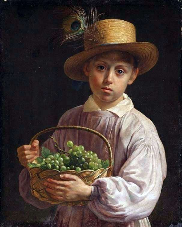 Description of the painting by Ivan Khrutsky Portrait of a boy in a straw hat