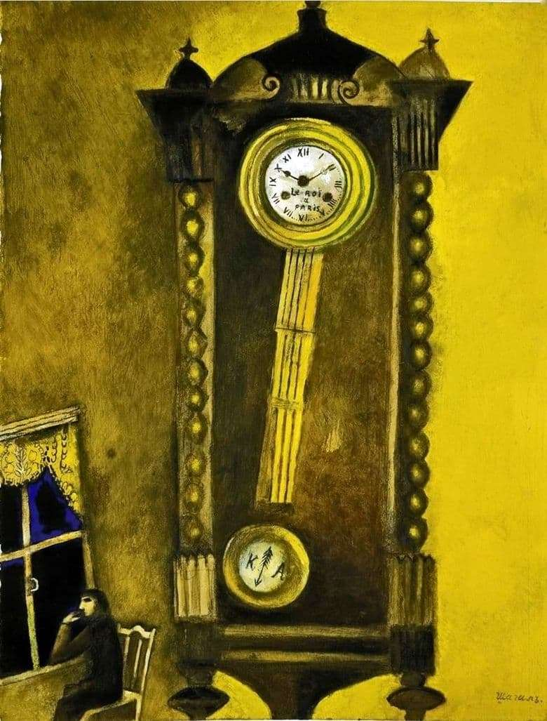Description of the painting by Marc Zakharovich Chagall Clock