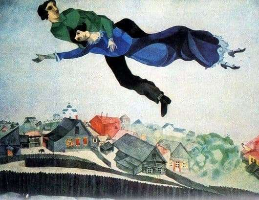 Description of the painting by Marc Chagall Above the city