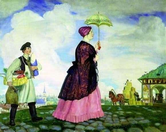 Description of the painting by Boris Kustodiev Merchant with purchases