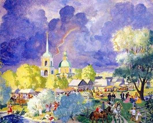 Description of the painting by Boris Kustodiev Thunderstorm