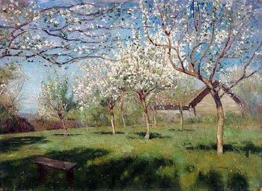 Description of the painting by Isaac Levitan Blooming apple trees