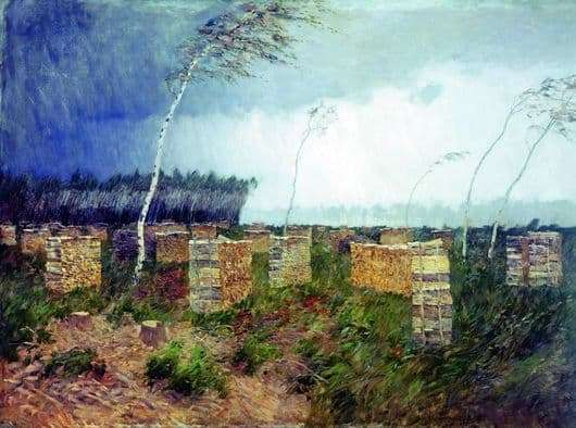Description of the painting by Isaac Levitan Storm. Rain