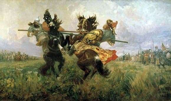 Description of the painting by Mikhail Avilov Duel Peresvet with Chelubey