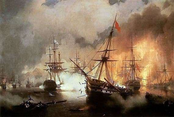 Description of the painting by Ivan Aivazovsky Navarinsky fight