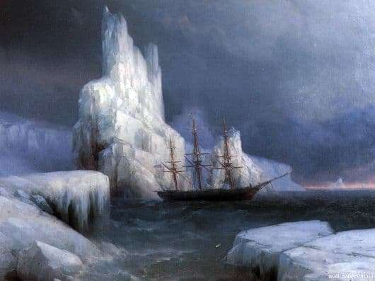 Description of the painting by Ivan Aivazovsky Ice Mountains in Antarctica