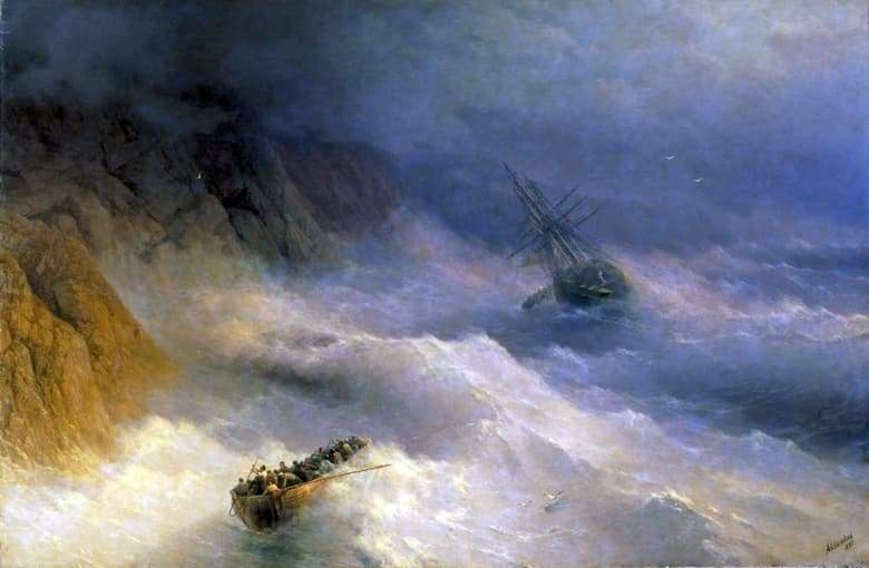 Description of the painting by Ivan Aivazovsky Storm at Cape Aya