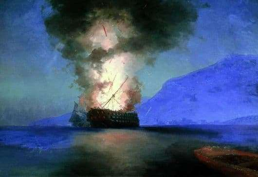 Description of the painting by Ivan Aivazovsky Ship Explosion