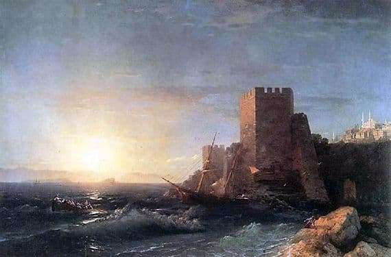 Description of the painting by Ivan Aivazovsky Towers on a rock near the Bosphorus
