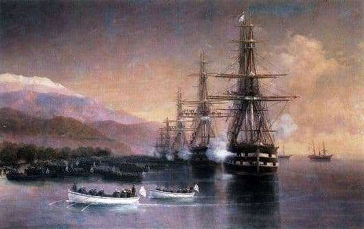 Description of the painting by Ivan Konstantinovich Aivazovsky Landing in Subashi