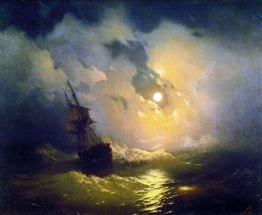 Description of the painting by Ivan Aivazovsky Storm on the Sea at Night