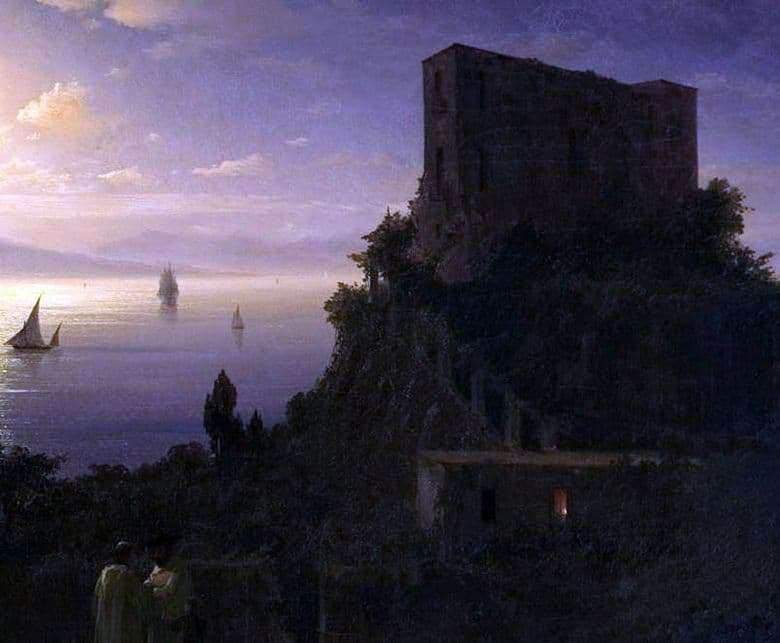 Description of the painting by Ivan Aivazovsky Bay of Naples on a moonlit night