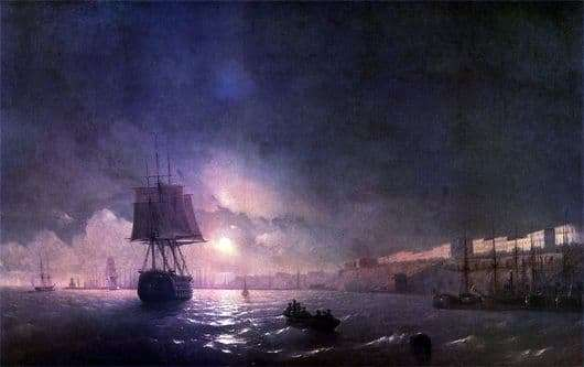 Description of the painting by Ivan Aivazovsky Odessa at night