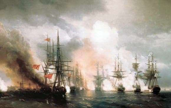 Description of the painting by Ivan Aivazovsky Sinop battle