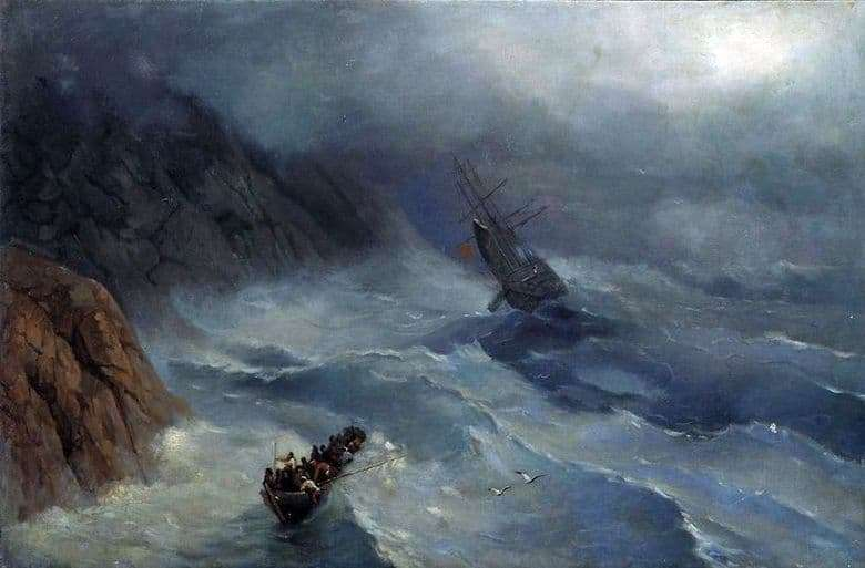 Description of the painting by Ivan Aivazovsky stormy sea