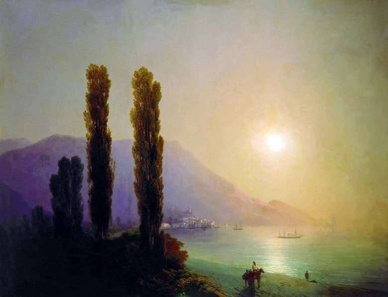 Description of the painting by Ivan Aivazovsky Sunrise off the coast of Yalta