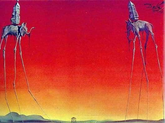 Description of the painting by Salvador Dali Elephants