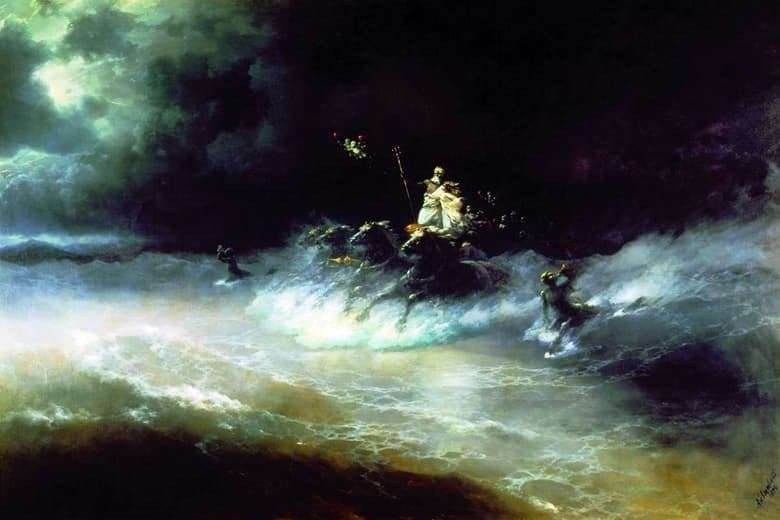 Description of the painting by Ivan Aivazovsky Journey of Poseidon by Sea