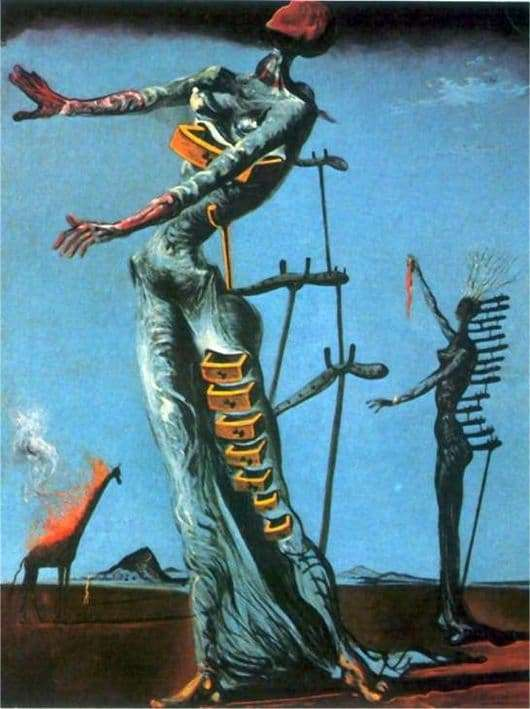 Description of the painting by Salvador Dali Giraffe in fire
