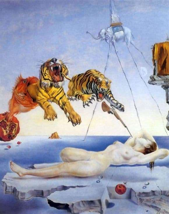 Description of the painting by Salvador Dali Sleep caused by the flight of a bee around a pomegranate