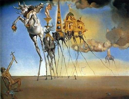 Description of the painting by Salvador Dali The Temptation of St. Anthony