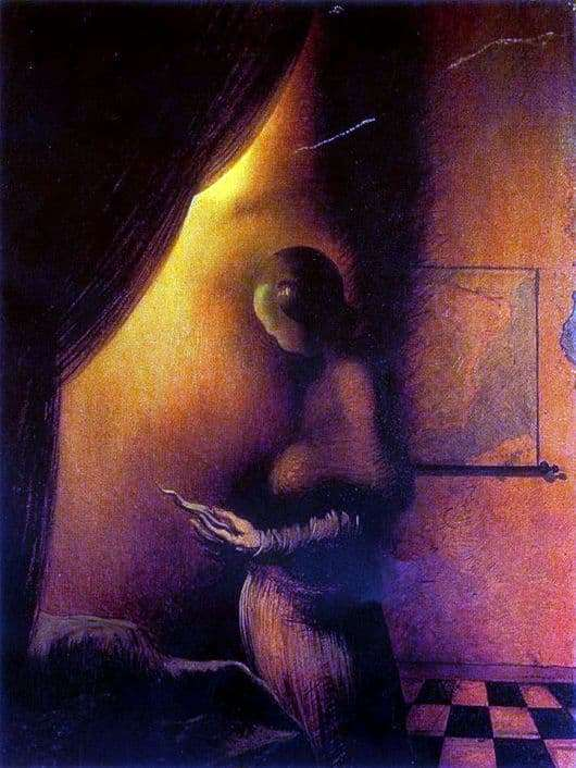 Description of the painting by Salvador Dali Disappearing images