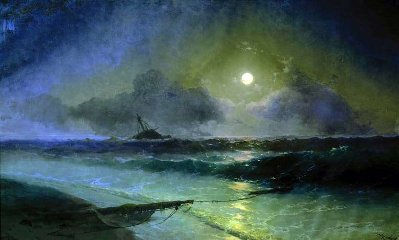 Description of the painting by Ivan Aivazovsky Moonrise in Feodosia