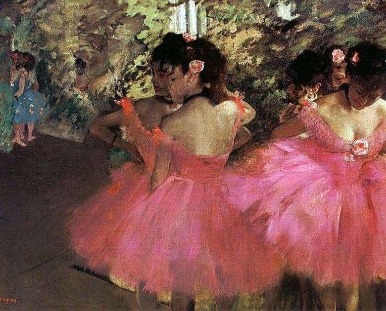Description of the painting by Edgar Degas Dancers in Pink