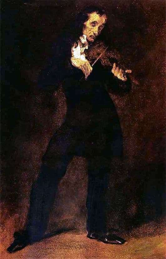 Description of the painting by Eugene Delacroix Portrait of Paganini
