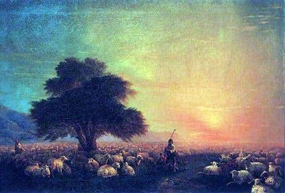 Description of the painting by Ivan Aivazovsky Sheep in the pasture (Flock of sheep)