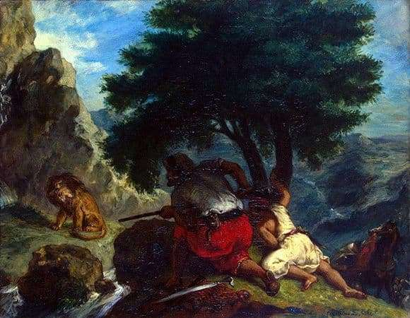 Description of the painting by Eugene Delacroix Lion Hunt in Morocco
