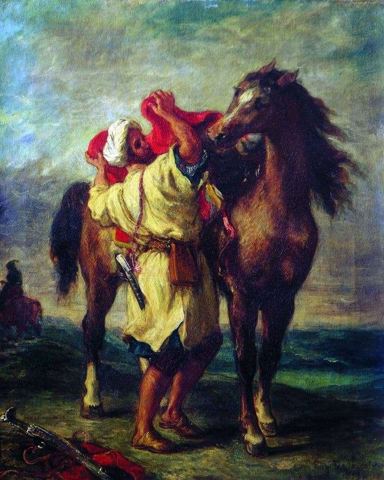 Description of the painting by Eugene Delacroix Moroccan saddling a horse