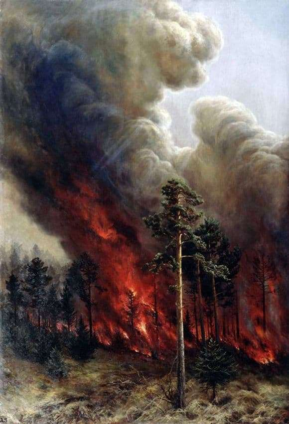 Description of the painting by Alexei Denisov Uralsky Forest Fire