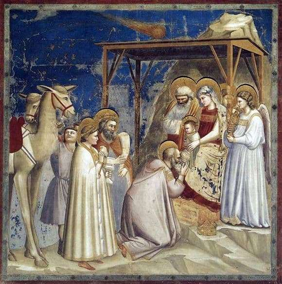Description of the painting by Giotto di Bondone Adoration of the Magi
