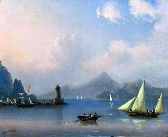 Description of the painting by Ivan Aivazovsky Sea Strait with a lighthouse