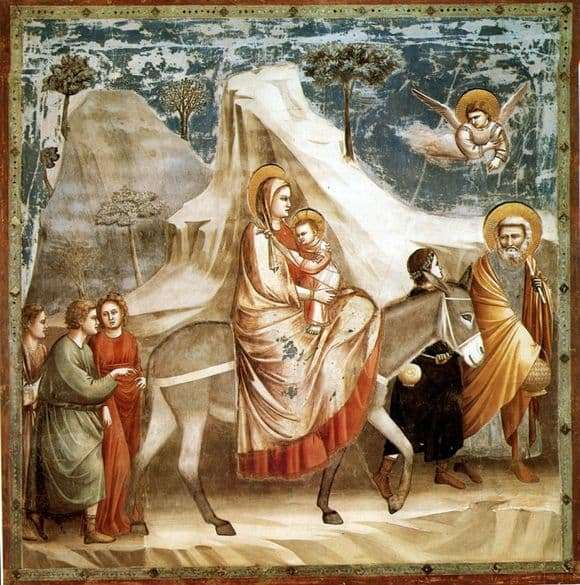 Description of the painting by Giotto di Bondone Flight into Egypt