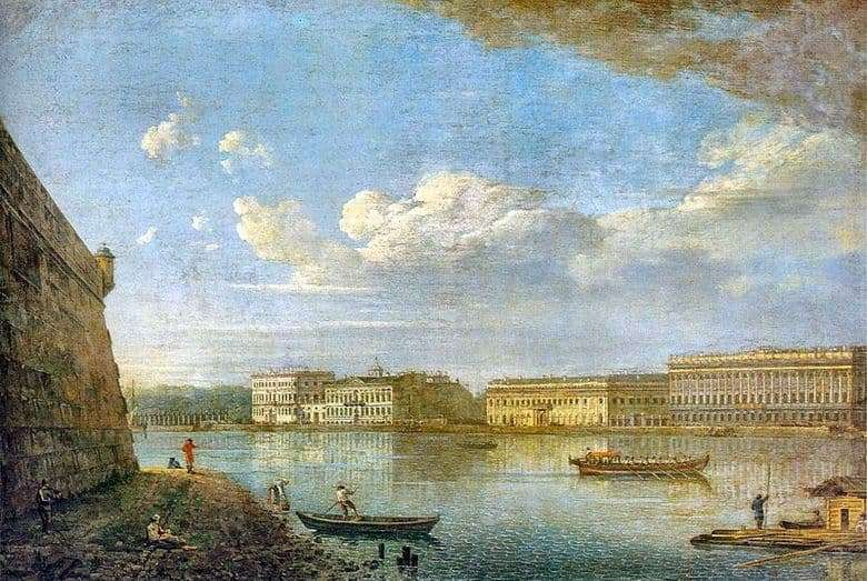 Description of the painting by Fyodor Alekseev View of the Palace Embankment from the Peter and Paul Fortress