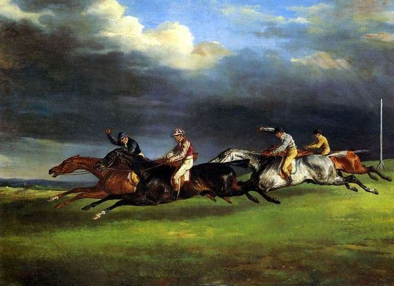 Description of the painting by Theodore Gericault Horse racing in Epsom
