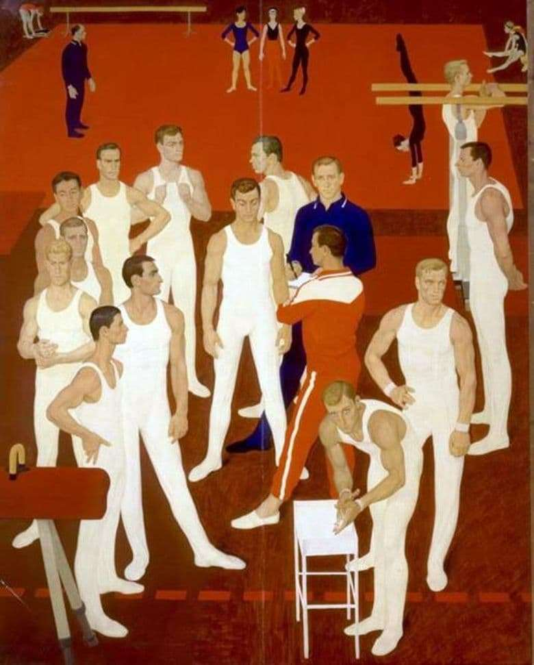 Description of the painting by Dmitry Zhilinsky Gymnasts of the USSR (1964 1965)