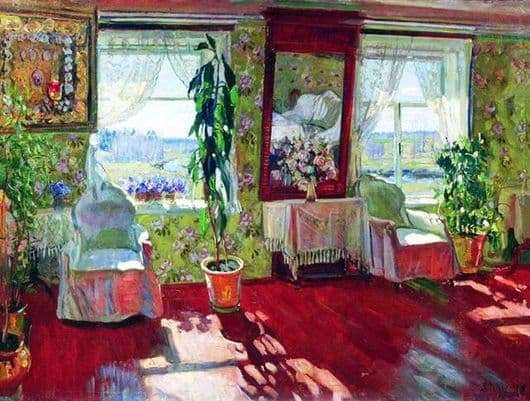 Description of the painting by Stanislav Zhukovsky Interior