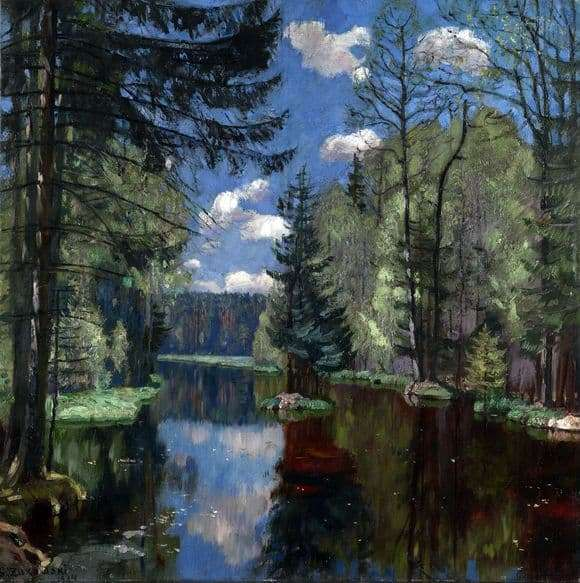 Description of the painting by Stanislav Zhukovsky Forest Lake